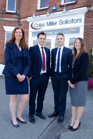 Nicola Wootten, Richard Perrins, Matthew Lewis, Michelle Vick of Coles Miller Solicitors
